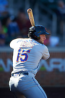 Scottsdale Scorpions designated hitter Tim Tebow (15), of the New York Mets organization, warms up on deck in the fourth inning during a game against the Mesa Solar Sox on October 18, 2016 at Sloan Park in Mesa, Arizona.  Mesa defeated Scottsdale 6-3.  (Mike Janes/Four Seam Images)