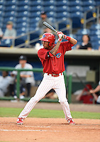 Clearwater Threshers shortstop J.P. Crawford (2) at bat during a game against the Tampa Yankees on June 26, 2014 at Bright House Field in Clearwater, Florida.  Clearwater defeated Tampa 4-3.  (Mike Janes/Four Seam Images)