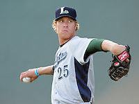 Starting pitcher Mike Foltynewicz (25) of the Lexington Legends, a Houston Astros affiliate, prior to a game against the Greenville Drive on May 2, 2012, at Fluor Field at the West End in Greenville, South Carolina. Foltynewicz is the No. 9 prospect for the Astros, according to Baseball America.(Tom Priddy/Four Seam Images)