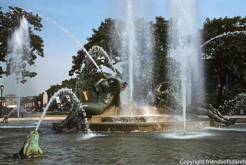Philadelphia: Fountain at Logan Circle on Benjamin Franklin Parkway. Swann Memorial Fountain designed by Wilson Eyre, Jr. and sculptor Alexander Stirling Calder 1924.  Photo '91.