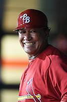 Palm Beach Cardinals hitting coach Ramon Ortiz (35) in the dugout during a game against the Lakeland Flying Tigers on April 13, 2015 at Joker Marchant Stadium in Lakeland, Florida.  Palm Beach defeated Lakeland 4-0.  (Mike Janes/Four Seam Images)