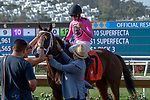 DEL MAR, CA  JULY 28:  #7 Fly to Mars, ridden by Flavien Prat, returns to the connections after winning the California Dreamin' Stakes on July 28, 2018, at Del Mar Thoroughbred Club in Del Mar, CA.(Photo by Casey Phillips/Eclipse Sportswire/Getty Images)