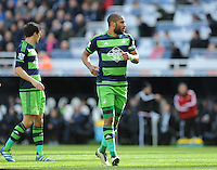 Ashley Williams of Swansea City during the Barclays Premier League match between Newcastle United and Swansea City played at St. James' Park, Newcastle upon Tyne, on the 16th April 2016