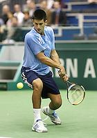 23-2-06, Netherlands, tennis, Rotterdam, ABNAMROWTT, t Novak Djokovic in action against Tim Henman