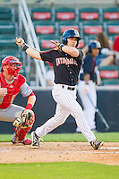Kale Kiser (9) of the Kannapolis Intimidators follows through on his swing against the Hagerstown Suns at CMC-Northeast Stadium on May 17, 2013 in Kannapolis, North Carolina.  The Suns defeated the Intimidators 9-7.   (Brian Westerholt/Four Seam Images)