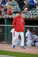 Buffalo Bisons pitching coach Bob Stanley (46) walks to the dugout before a game against the Pawtucket Red Sox on August 31, 2017 at Coca-Cola Field in Buffalo, New York.  Buffalo defeated Pawtucket 4-2.  (Mike Janes/Four Seam Images)