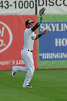 Clinton LumberKings left fielder Luis Liberato (2) catches fly ball during the game against the Beloit Snappers at Ashford University Field on June 11, 2016 in Clinton, Iowa.  The LumberKings won 7-6.  (Dennis Hubbard/Four Seam Images)