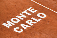13th April 2021; Roquebrune-Cap-Martin, France;  The tournament logo in the clay during the  Rolex Monte Carlo Masters