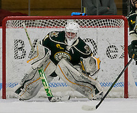 Boston, Massachusetts - February 28, 2016: NCAA Division I, Hockey East quarterfinals (best of three). Boston University (white) defeated University of Vermont (green), 6-1, at Walter Brown Arena and won the series.