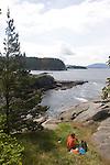 U.S.A. Pacific Northwest, Washington State, Salish Sea, San Juan Islands, Sucia Island, Sucia Island Marine State Park, couple recreating, released,