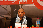 Senior Hamas leader Khalil al-Hayah participates in a ceremony to mark Palestinian Journalist Day in Gaza city on Dec. 31, 2015. Photo by Mohammed Asad
