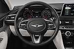 Car pictures of steering wheel view of a 2020 Genesis G70 Prestige 4 Door Sedan Steering Wheel