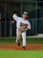 Sarasota Sailors third baseman Bradley Ramsden (3) throws to first base during a game against the Riverview Rams on February 19, 2021 at Rams Baseball Complex in Sarasota, Florida. (Mike Janes/Four Seam Images)