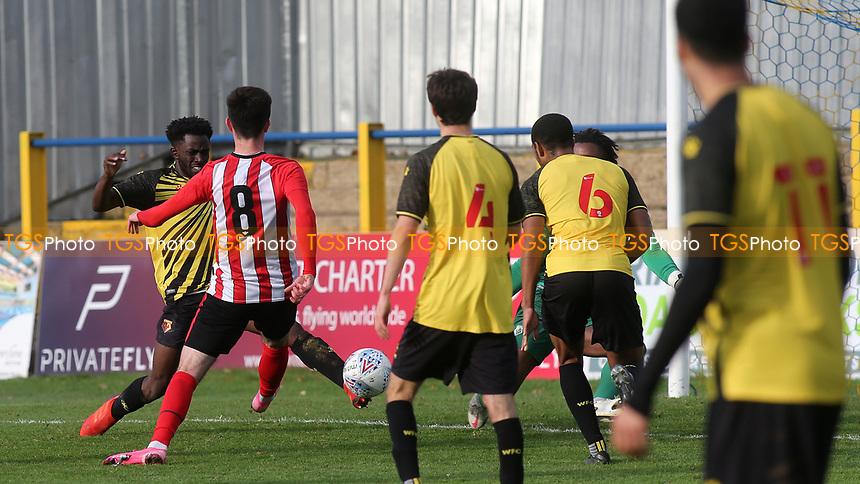 Alex Gilbert scores Brentford B's second goal during Watford Under-23 vs Brentford B, Friendly Match Football at Clarence Park on 24th November 2020