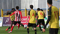 Alex Gilbert scores Brentford B's second goal during Watford Under-23 vs Brentford B, Friendly Match Football at Clarence Park on 24th November 2020