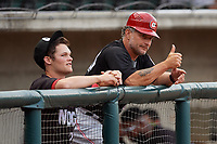 Chattanooga Lookouts coach Darren Bragg (40) and Brantley Bell (left) before a Southern League game against the Birmingham Barons on May 1, 2019 at Regions Field in Birmingham, Alabama.  Chattanooga defeated Birmingham 5-0.  (Mike Janes/Four Seam Images)