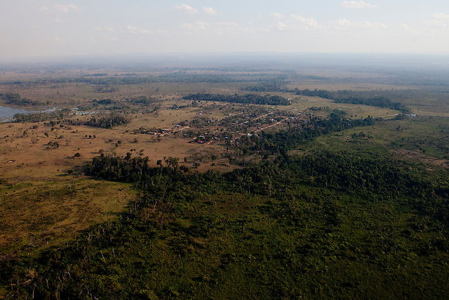 Overflight over Mayan Biosphere Reserve, View on thge community Nueva Amanecer(New Dawn). Settlers mostly from Izabal have build up the community in 2003 inside the Reserve.