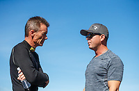 Aug 21, 2016; Brainerd, MN, USA; NHRA top fuel driver Clay Millican (left) talks with Steve Torrence during the Lucas Oil Nationals at Brainerd International Raceway. Mandatory Credit: Mark J. Rebilas-USA TODAY Sports
