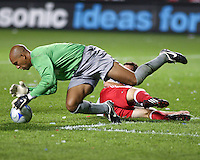 Everton FC GK Tim Howard (24), dives to save a goal.  The Chicago Fire defeated English Premier League Team Everton FC 2-0 in a friendly match at Toyota Park in Bridgeview, IL, on July 30, 2008.