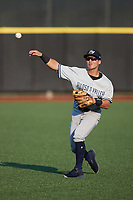 Hudson Valley Renegades shortstop Anthony Volpe (5) warms up in the outfield prior to the game against the Aberdeen IronBirds at Leidos Field at Ripken Stadium on July 23, 2021, in Aberdeen, MD. (Brian Westerholt/Four Seam Images)