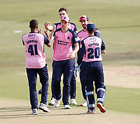 Miguel Cummins (L) of Middlesex is congratulated after taking the wicket of Heino Kuhn during Kent Spitfires vs Middlesex, Vitality Blast T20 Cricket at The Spitfire Ground on 16th September 2020