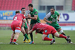 Connacht's Danie Poolman is tackled by Scarlets' Ken Owens and Peter Edwards<br /> <br /> Rugby - Scarlets V Connacht - Guinness Pro12 - Sunday 15th Febuary 2015 - Parc-y-Scarlets - Llanelli<br /> <br /> © www.sportingwales.com- PLEASE CREDIT IAN COOK
