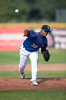 Missoula Osprey starting pitcher Deyni Olivero (37) follows through on his delivery during a Pioneer League game against the Orem Owlz at Ogren Park Allegiance Field on August 19, 2018 in Missoula, Montana. The Missoula Osprey defeated the Orem Owlz by a score of 8-0. (Zachary Lucy/Four Seam Images)