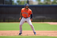 Houston Astros J.J. Matijevic (52) leads off during a Minor League Spring Training game against the New York Mets on April 27, 2021 at FITTEAM Ballpark of the Palm Beaches in Palm Beach, Fla.  (Mike Janes/Four Seam Images)