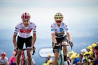 Jasper Stuyven (BEL/Trek Segafredo) and Wout Van Aert (BEL/Jumbo-Visma) finishing atop La Planche des Belles Filles. <br /> <br /> Stage 6: Mulhouse to La Planche des Belles Filles (157km)<br /> 106th Tour de France 2019 (2.UWT)<br /> <br /> ©kramon