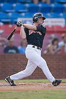 Second baseman Dale Mollenhauer (15) of the Winston-Salem Warthogs follows through on his swing at Ernie Shore Field in Winston-Salem, NC, Saturday August 9, 2008. (Photo by Brian Westerholt / Four Seam Images)