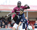 18/04/2009  Copyright Pic: James Stewart.sct_jspa03_falkirk_v_hearts.DAVID OBUA AND JACKIE MCNAMARA CHALLENGE.James Stewart Photography 19 Carronlea Drive, Falkirk. FK2 8DN      Vat Reg No. 607 6932 25.Telephone      : +44 (0)1324 570291 .Mobile              : +44 (0)7721 416997.E-mail  :  jim@jspa.co.uk.If you require further information then contact Jim Stewart on any of the numbers above.........