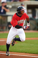 Mississippi Braves outfielder Mallex Smith (1) runs to first during a game against the Pensacola Blue Wahoos on May 28, 2015 at Trustmark Park in Pearl, Mississippi.  Mississippi defeated Pensacola 4-2.  (Mike Janes/Four Seam Images)
