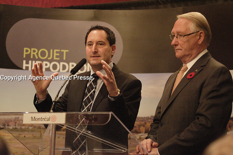 October 30 2012 - Montreal, Quebec, CANADA -  Presentation of Montreal Hippodrome residential project by Michael Applebaum and <br />  Montreal Mayor Gerald Tremblay, who is now avoiding public appeareance and the medias, after troubling revelation  at Charbonneau Commission regarding his knowledge of corruption at City Hall. - Michael Applebaum is one of the possible replacement of Mayor Gerald Tremblay who resigned November 5, 2012.