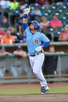 Tennessee Smokies first baseman Dan Vogelbach (21) gives thanks after hitting a home run during a game against the Chattanooga Lookouts on April 25, 2015 in Kodak, Tennessee. The Smokies defeated the Lookouts 16-10. (Tony Farlow/Four Seam Images)