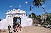 INDIA Tranquebar, in 18th century a former danish trading post in Tamil Nadu, old danish town gate / INDIEN Tranquebar, war eine ehemalige daenische Handelsniederlassung im 18. Jh., altes Stadttor