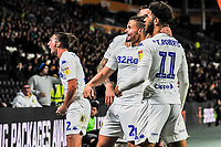 Leeds United celebrate in front of the away fans during the Sky Bet Championship match between Hull City and Leeds United at the KC Stadium, Kingston upon Hull, England on 2 October 2018. Photo by Stephen Buckley/PRiME Media Images.