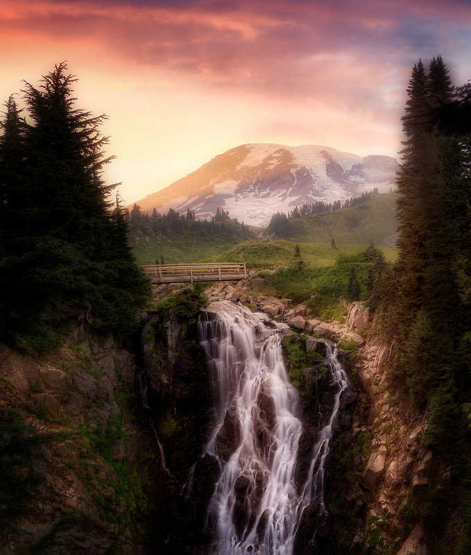 Myrtlle Falls and sunset. Mt. Rainier National Park, Washington