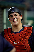 State College Spikes catcher Pedro Pages (43) during a NY-Penn League game against the Mahoning Valley Scrappers on August 29, 2019 at Eastwood Field in Niles, Ohio.  State College defeated Mahoning Valley 8-1.  (Mike Janes/Four Seam Images)
