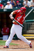 Zack Cox (7) of the Springfield Cardinals crushes a pitch during a game against the San Antonio Missions on May 30, 2011 at Hammons Field in Springfield, Missouri.  Photo By David Welker/Four Seam Images