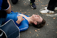 Andrea Piccolo (ITA) collapsing post-finish<br /> Men Junior Individual Time Trial<br /> <br /> 2019 Road World Championships Yorkshire (GBR)<br /> <br /> ©kramon