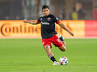 WASHINGTON, DC - MAY 13: Edison Flores #10 of D.C. United crosses the ball during a game between Chicago Fire FC and D.C. United at Audi FIeld on May 13, 2021 in Washington, DC.