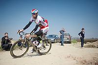 Alexander Kristoff (NOR/Katusha) on the Carrefour de l'Arbre sector<br /> <br /> <br /> 2015 Paris-Roubaix recon