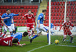 St Johnstone v Aberdeen…22.04.16  McDiarmid Park, Perth<br />Steven Anderson's goal is disallowed<br />Picture by Graeme Hart.<br />Copyright Perthshire Picture Agency<br />Tel: 01738 623350  Mobile: 07990 594431