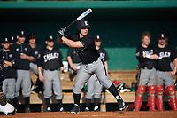 Edgewood Eagles Garrett Bogucki (25) at bat during the first game of a doubleheader against the Lasell Lasers on April 14, 2016 at Terry Park in Fort Myers, Florida.  Edgewood defeated Lasell 9-7.  (Mike Janes/Four Seam Images)