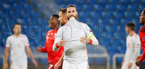14th November 2020; St.Jakob Park, Basel, Switzerland; Nations League International Football, Switzerland versus Spain;  Spain Sergio RamSpain frusrtrated as he shoots and misses his first Penalty of the game