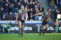 Tom Guest of Harlequins has his late try disallowed during the Heineken Cup Round 5 match between Harlequins and ASM Clermont Auvergne at the Twickenham Stoop on Saturday 11th January 2014 (Photo by Rob Munro)