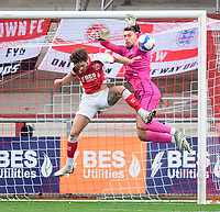 Lincoln City's Alex Palmer is fouled by Fleetwood Town's Wes Burns<br /> <br /> Photographer Chris Vaughan/CameraSport<br /> <br /> The EFL Sky Bet League One - Fleetwood Town v Lincoln City - Saturday 17th October 2020 - Highbury Stadium - Fleetwood<br /> <br /> World Copyright © 2020 CameraSport. All rights reserved. 43 Linden Ave. Countesthorpe. Leicester. England. LE8 5PG - Tel: +44 (0) 116 277 4147 - admin@camerasport.com - www.camerasport.com