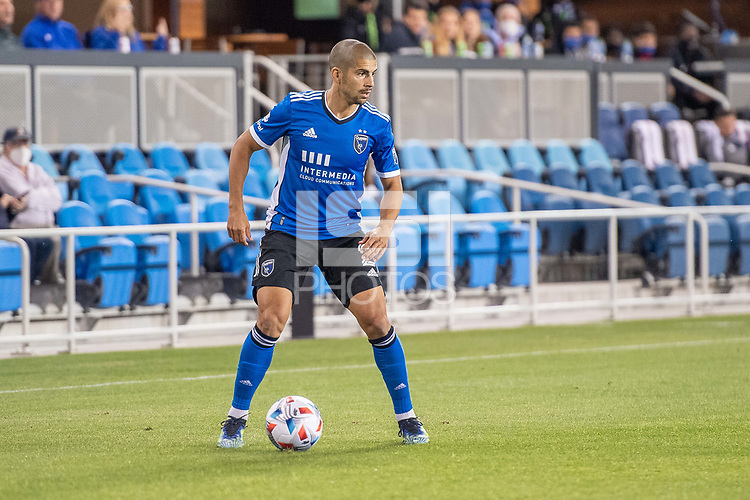 SAN JOSE, CA - MAY 22: Luciano Abecasis #2 of the San Jose Earthquakes controls the ball during a game between San Jose Earthquakes and Sporting Kansas City at PayPal Park on May 22, 2021 in San Jose, California.