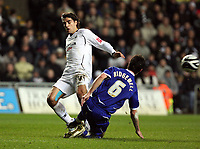 Pictured: Jordi Gomez of Swansea City in action <br />