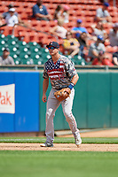 Pawtucket Red Sox third baseman Bobby Dalbec (15) during an International League game against the Buffalo Bisons on August 25, 2019 at Sahlen Field in Buffalo, New York.  Buffalo defeated Pawtucket 5-4  (Mike Janes/Four Seam Images)